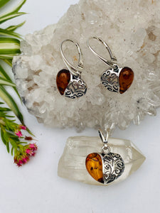 Genuine Baltic Amber filagree heart pendant and earrings set AMB45