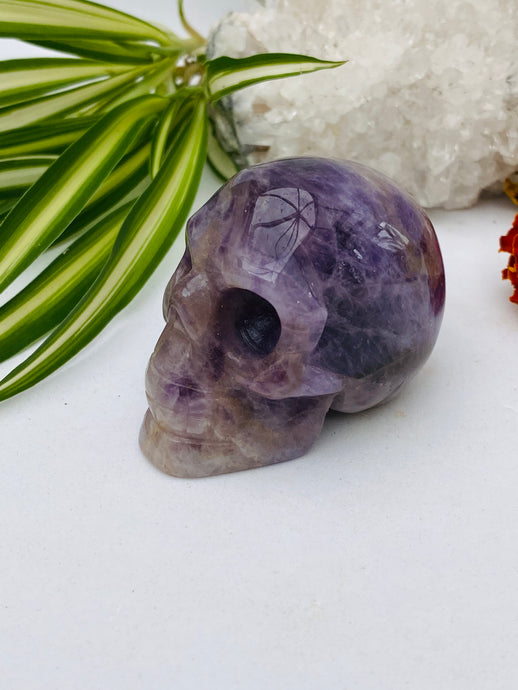 Amethyst Small Skull Carving C420f
