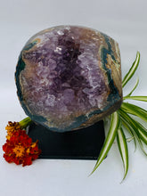 Semi-Polished Amethyst Geode on Metal Stand- Display Piece C1310
