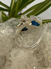 Blue Apatite and Moonstone adjustable ring s.8