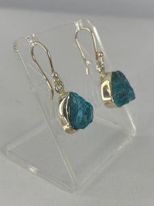 Blue Apatite raw earrings