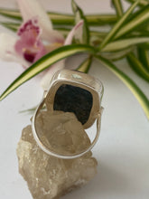 Blue Apatite rectangle cabochon ring with simple band s.8.5