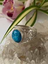 Blue Apatite oval cabochon with filagree band ring