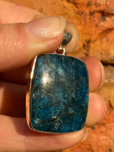 Blue Apatite rectangle cabochon pendant 14g