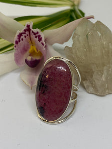 Rhodonite oval ring with quad band s.9