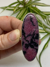 Rhodonite long oval statement ring with simple band s.12