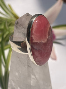 Rhodochrosite oval ring with simple silver band s.10.5