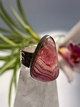 Rhodochrosite triangle ring with beaten silver band s.7