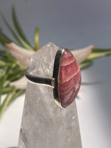 Rhodochrosite freeform ring with simple band s.9
