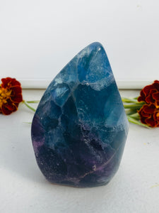 Rainbow Fluorite Flame carving C1055e