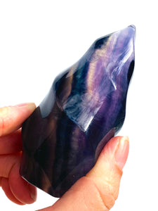 Rainbow Fluorite Flame carving C1380