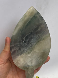 Fluorite (green and blue) leaf bowl