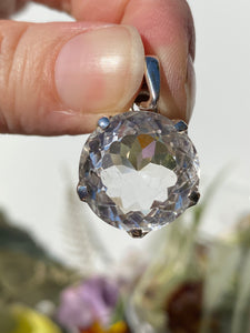 Clear quartz circular faceted pendent PPGJ252