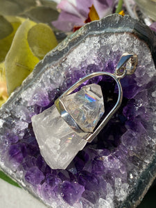 Clear Quartz twin crystal pendant with rainbows PPGJ294