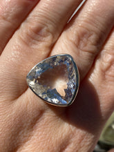 Clear quartz triangular faceted ring s.7.5 KRGJ1129