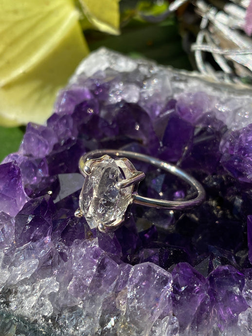 Herkimer Diamond quartz fine band ring s.9 PRGJ178