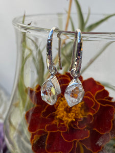 Herkimer Diamond Quartz enclosed setting earrings PEGJ12