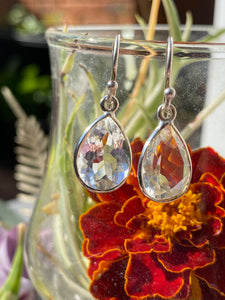Clear Quartz Teardrop faceted earrings KEGJ323