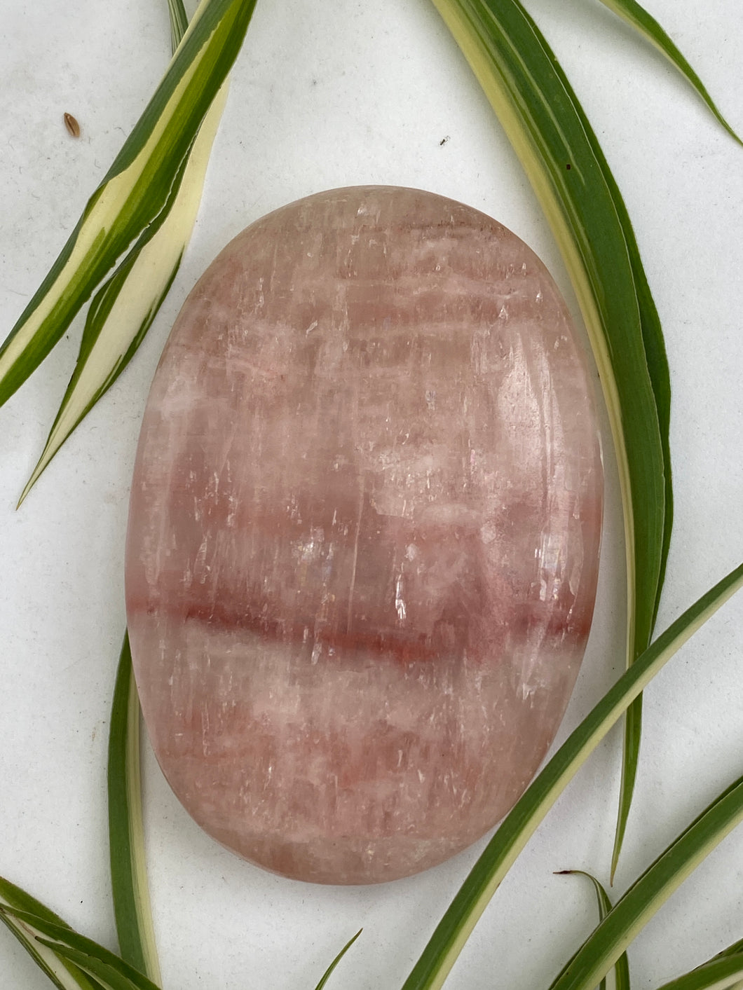 Rose Calcite Palm Stone 114g