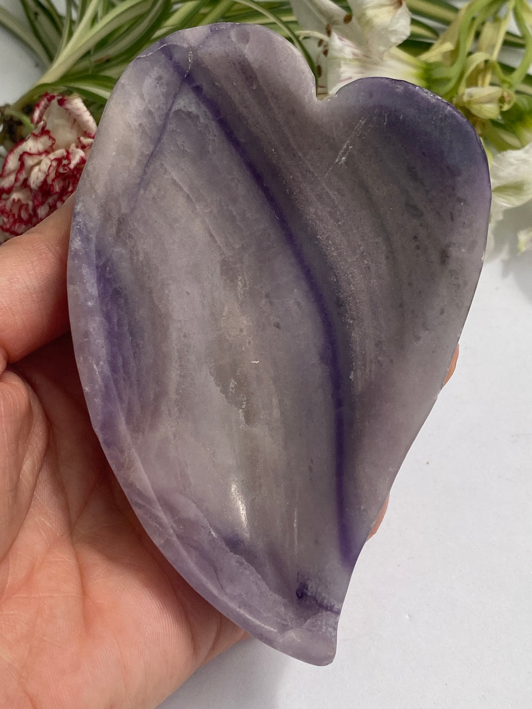 Silky Fluorite curved heart bowl