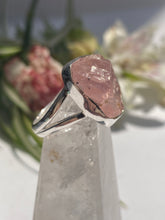 Rose Quartz Raw Crystal Ring with Split band s9