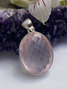 Rose Quartz Checkerboard Faceted Oval Pendant