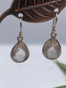 Rose Quartz Faceted Earings Teardrop