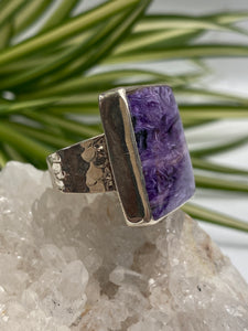 Charoite Square Ring with Beaten Band s.7.5