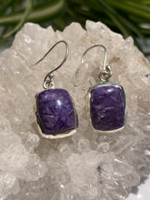 Charoite small square earrings
