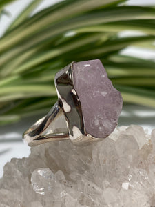 Kunzite split band Raw Crystal Ring 7.7g size 6