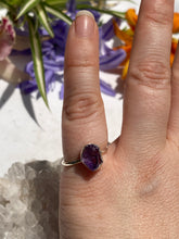 Amethyst Raw Crystal Fine band ring s5