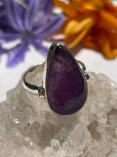 Amethyst teardrop cabochon ring with 3mm simple band s.9