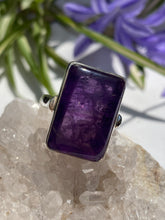 Amethyst Rectangle cabochon ring with 3mm simple band s9