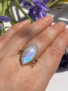 Moonstone marquise split band ring s.9