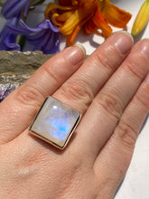 Moonstone square split band ring s7 9g