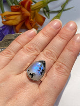 Moonstone and Black tourmaline teardrop beaten band ring s.8.5-9