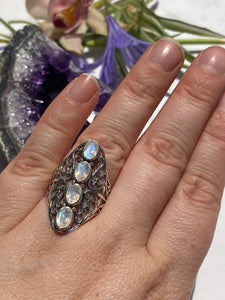 Moonstone faceted 4-stone oval filagree band ring s8
