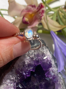 Moonstone faceted oval fine band ring s.9