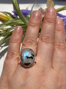 Moonstone and Black tourmaline oval beaten band ring s.7.5-s.8 KRGJ806