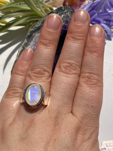 Moonstone faceted oval ring with 10mm band s.8