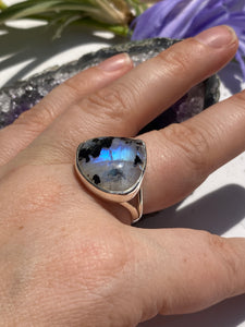 Moonstone and Black tourmaline wide teardrop split band ring s.8
