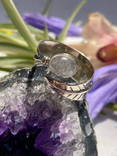 Moonstone oval open leaf band ring s.7.5 adjustable