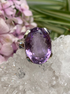 Amethyst faceted oval ring  s.10 KRGJ656
