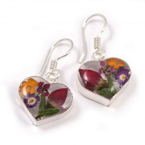 Blue Turtles Wildflowers Collection - Mixed Bouquet Wildflower Heart Earrings