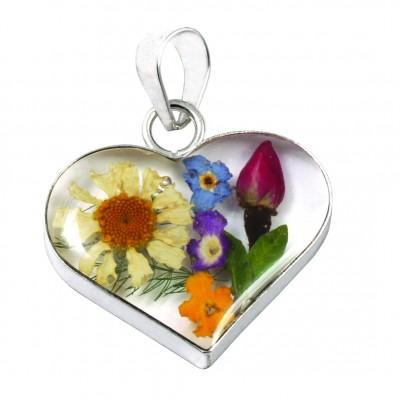 Blue Turtles Wildflowers Collection - Mixed Bouquet Wildflower Heart Pendant - Nature's Magick