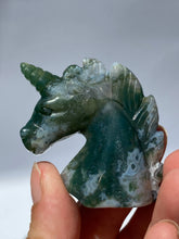 Moss Agate Small Unicorn Head