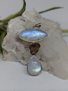 Multi-stone pendant - Moonstone with tourmaline