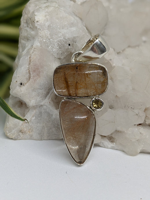 Multi-stone pendant - Golden Rutile in Quartz with Citrine