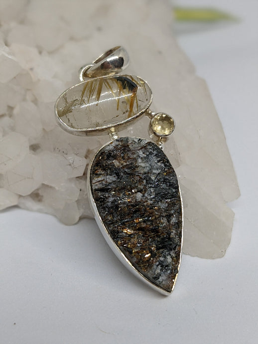 Multi-stone pendant - Rutilated quartz with Golden Astrophylite