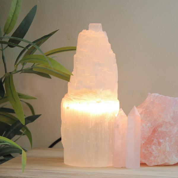 Selenite Tower Lamp 20cm - warm light